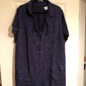 NWT Anthropologie A+ navy lace-up sheath dress 24W